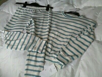New Marks And Spencer Girls Pyjamas Age 7-8 Yrs Colour Green/ Cream