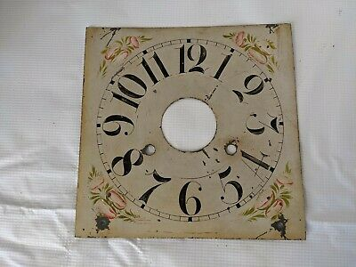 Antique Wall Clock Hand Painted Square Metal Dial Face w/ Flowers Vines 8.5""