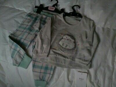 New Marks And Spencer Girls Pyjamas Age 18-24 mths Colour Pale Grey / Green