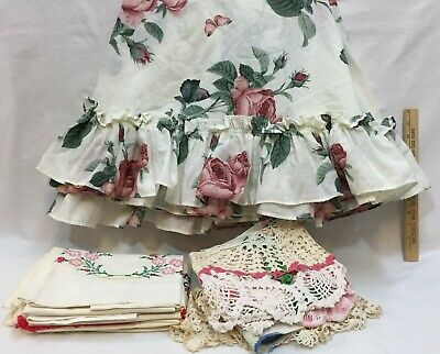 Fabric Craft Cutters Tablecloth Pillowcases Dresser Scarf Runners Doilies Lot 19