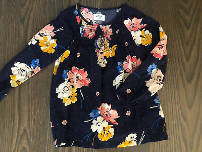 Girls Old Navy Blue long sleeve floral Shirt top Size 8 / M