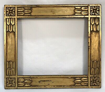 Antique Early 20th C Arts & Crafts Hand Carved Gold Frame 8 x 10 Opening