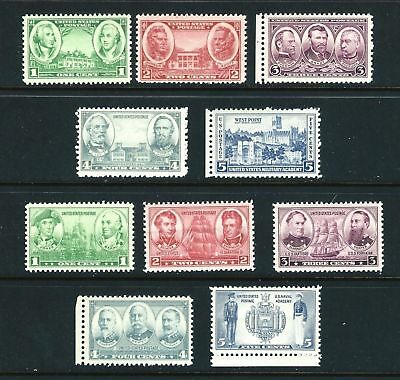 US Stamps: 785-794 Army-Navy issue  Mint, o,g. Never Hinged FREE SHIPPING