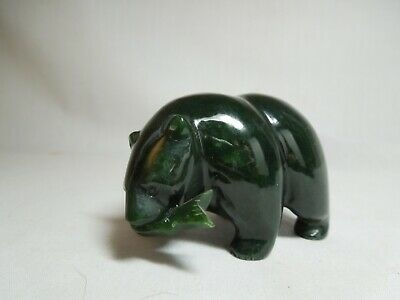 Carved Jade Bear With Fish