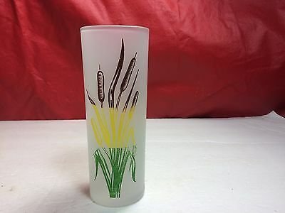 "Vintage 6 3/8"" Tall Frosted Tea Glass With Cattails Holds 10 Oz"
