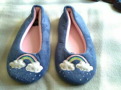 New Girls Marks &Spencer Slippers Size Adult 4 Colour Blue With Pattern.