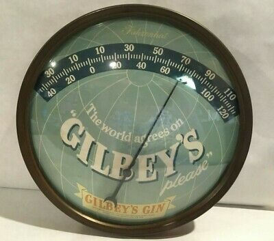 """Vintage Gilbey's Gin Thermometer  """"The World Agrees on Gilbey's Please"""""""