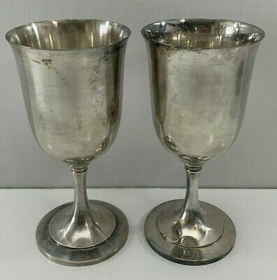Vintage Heavy Silverplate Wine Goblets / Cups, Wm. A. Rogers, Pair