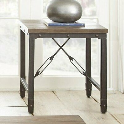 Steve Silver Jersey Industrial Square End Table in Antique Tobacco  # JE400E