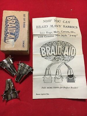 VTG BRAID-AID 3-Way Tool Vari-Folder Box Instructions Rug Making Fabric Folders