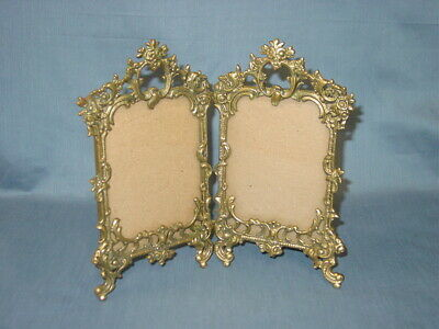 Ornate Vintage Rococo Brass Hinged Double Picture Frame