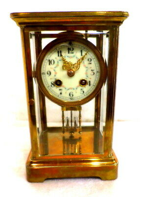 French Brass Crystal Regulator with Beveled Glass, Porcelain Dial & Mercury Pend