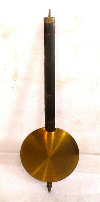 Wonderful Antique Wall Clock Pendulum With Wood Rod & Brass Bob 12 3/4 Inches