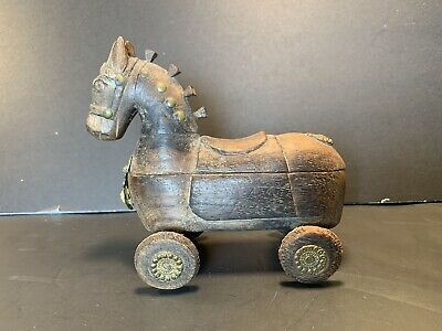 "Vintage Wooden/Brass Handcarved Trojan/Horse-on-Wheels Spice Tikka Box (H: 6"")"