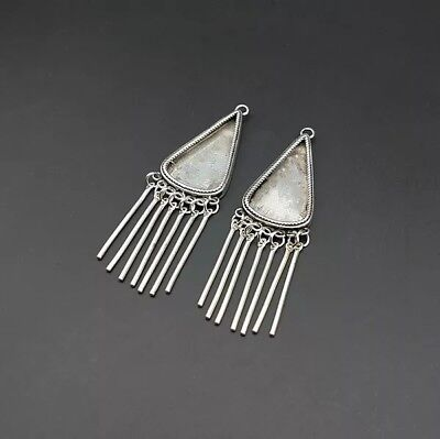 chinese exotic tribal handmade miao silver DIY embed earring 1pair
