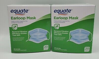 40 Count New Equate Medical Earloop Face Mask Free next day ship