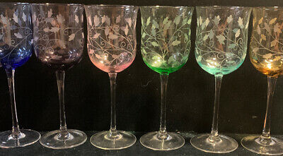 6 Beautiful Pastel Colored Goblets Etched Leaves (SH22)