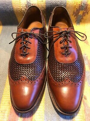 Allen Edmonds Hampstead Brown Woven Leather Oxford Wing Tip Dress Shoes 8.5 D