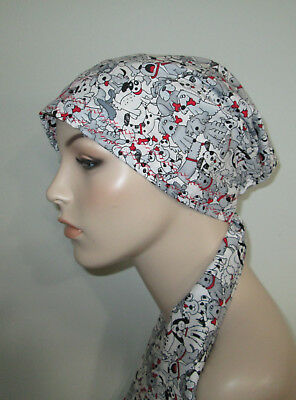 USA Handmade Alopecia Chemo Hat Mickey Mouse Royal Bl PreTied Scarf  Cancer Hat