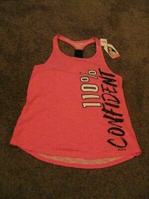 Justice Active    NWT   Girls Size 14/16     Pink 100% CONFIDENT  Tank Top