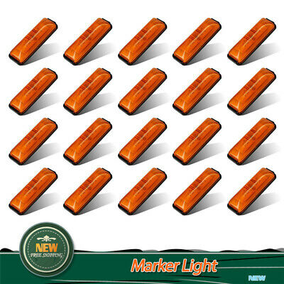 "20 X Amber 4"" Side Marker 4 LED Light Clearance Warning Indicator Fender Lamp"