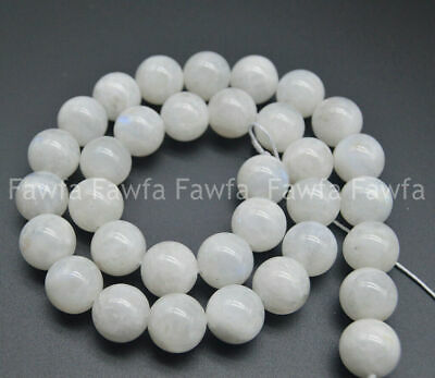 Natural 10mm White Moonstone Gemstone Round Loose Beads Strand 15 Inches AAA