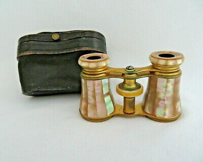 Lemaire Paris France Mother of Pearl & Gilt Theater Opera Glasses w Leather Case