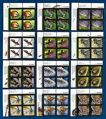 Canadian INSECT postage stamp blocks full set MNH MINT UNUSED FULL GUM CANADA