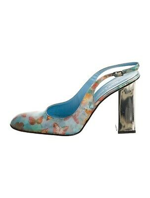 Dolce & Gabbana Silver Mirrored Heel Blue Butterfly/ Floral Hologram Shoes Pump