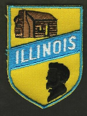 Vintage Illinois State Embroidered Cloth Souvenir Travel Patch