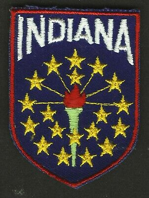 Vintage Indiana State Embroidered Cloth Souvenir Travel Patch