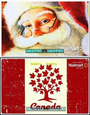 2x WALMART MAPLE LEAF LIFE TREE CHRISTMAS SANTA CLAUS COLLECTIBLE GIFT CARD LOT