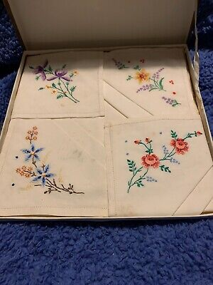 Beautiful Set Of 4 White With Floral Embroidery Cotton Sparwick Handkerchiefs