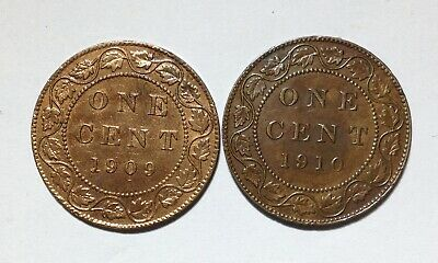 Canada Large Cent Pair 1909 Cleaned VF/EF & 1910 in EF Condition. H193