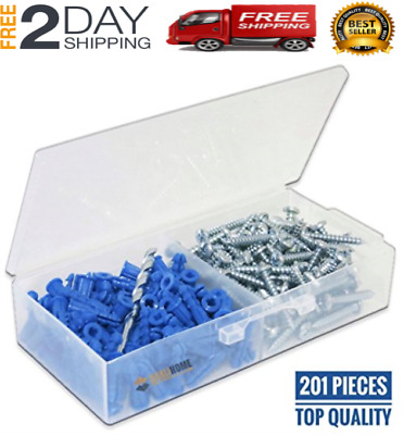 Ribbed Plastic Drywall Anchor Kit with Screws and Masonry Drill Bit, 10-12 x 1""