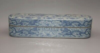 WanLi Porcelain Blue and White Box with Lid with Design of Cloud and Dragon X277