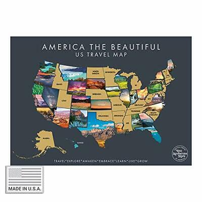 America The Beautiful USA Scratch Off Map- Interactive Travel Scratch Off Grey
