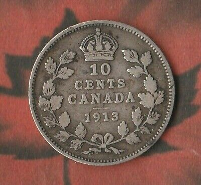 1913 Canada King George 10 Cents (Dime)- 92.5% Silver- Fairly Good Example