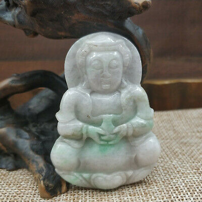 Chinese Hand-carved aristocratic wearing Jadeite jade pendant(jade Guanyin)