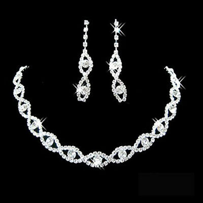 JW_ GC- Women Rhinestone Twisted Necklace Dangle Earrings Bridal Wedding Jewel