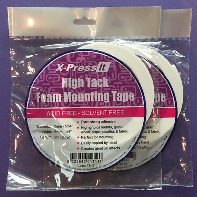 High Tack Foam Mounting Double Sided Tape, XPress It brand (6mm & 12mm)
