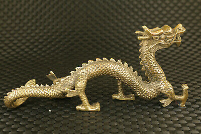 old Chinese bronze hand casting big dargon statue table decoration collectable