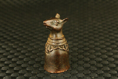 chinese old bronze hand casting mouse statue cup