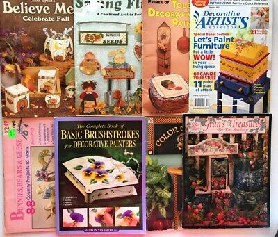 8 Tole Pattern Books Decorative Painting Brush Bunnies One-Stroke Flowers Border