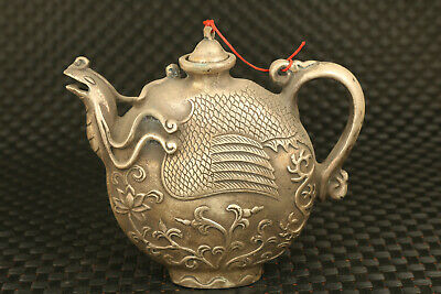 Chinese tibet silver  Hand cast phoenix statue tea pot collectable fine gift