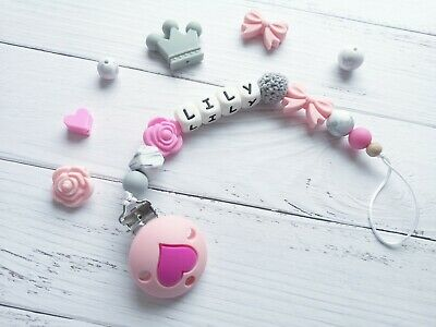 Personalised Silicone Beads Dummy Clip Holder Bow Flower BPA Free