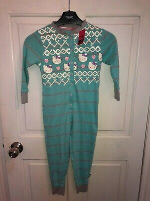 Girls Hello Kitty Cotton All In One Sleepsuit Pyamas Primark Age 13 Years