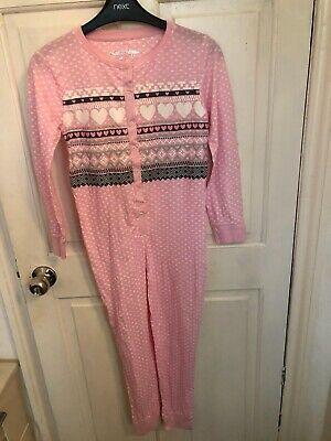 Girls Hello Pink Heart Cotton All In One Sleepsuit Pyamas Primark Age 13 Years
