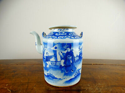 Antique Chinese Porcelain Teapot Blue and White 19th Century Export Qing A/F