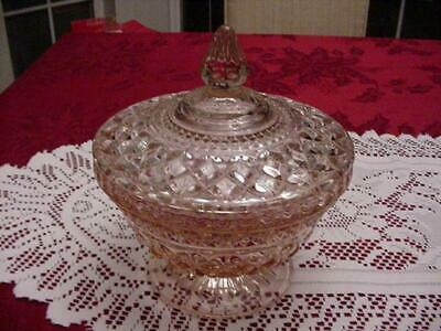 Vintage Anchor Hocking Wexford Pink Footed Covered Candy Dish